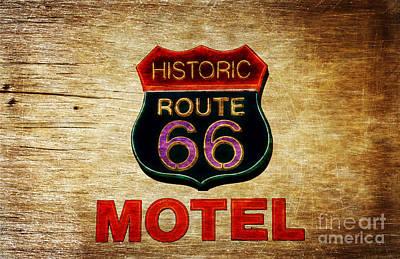 Historic Route 66 Motel Sign Kingman Print by Heinz G Mielke