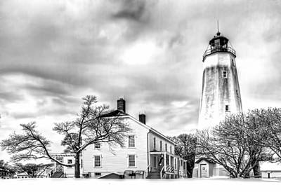 Base Path Photograph - Historic Sandy Hook Lighthouse In Black And White by Geraldine Scull