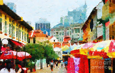 Local Attraction Painting - Historic Singapore Painting by George Fedin and Magomed Magomedagaev