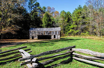 Smokey Mountain Drive Photograph - Historical Cantilever Barn At Cades Cove Tennessee by Kathy Clark