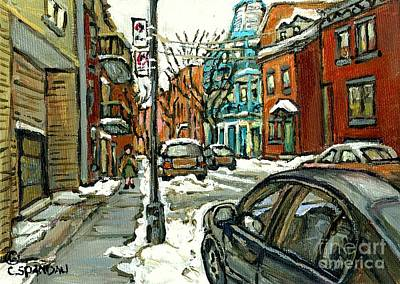 Montreal Winter Scenes Painting - Historical Plateau Mont Royal Winter Street Painting For Sale Celebrate Montereal 375 C Spandau by Carole Spandau