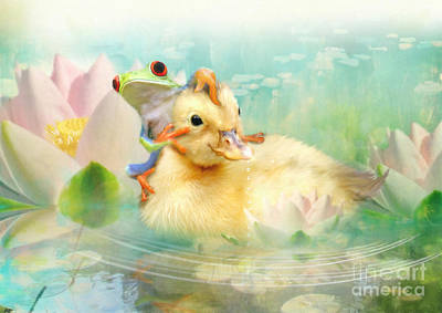 Ducks Mixed Media - Hitching A Ride by Trudi Simmonds