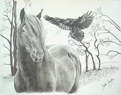 Wild Horse Drawing - Hitch'n A Ride by Joette Snyder