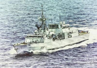 Navy Painting - Hmcs Regina By Shawna Mac by Shawna Mac