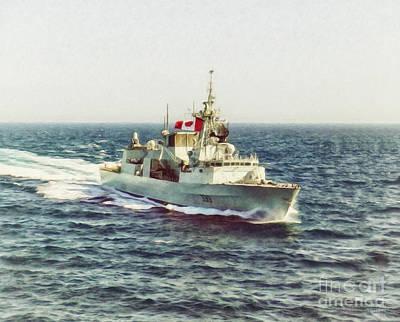 Navy Painting - Hmcs Toronto By Shawna Mac by Shawna Mac