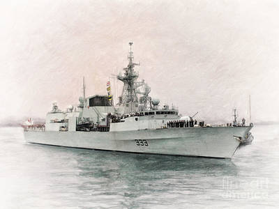 Military Painting - Hmcs Toronto Leaving Halifax By Shawna Mac by Shawna Mac