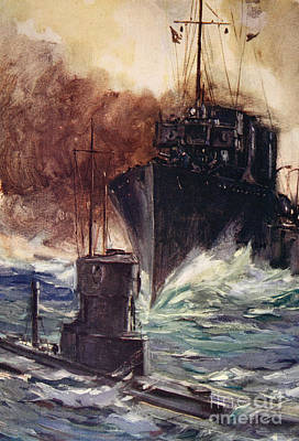First World War Painting - Hms Badger Ramming A German Submarine by Cyrus Cuneo