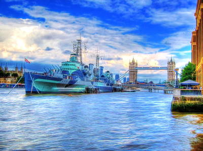 Warship Photograph - Hms Belfast On River Thames by Andreas Thust