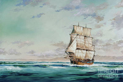 Hms Endeavour Print by James Williamson