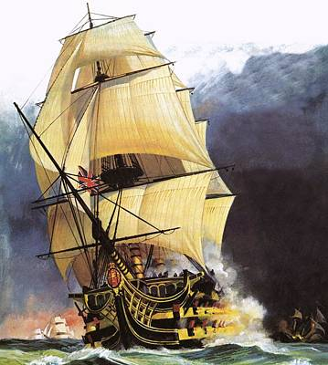 Famous Wave Painting - Hms Victory by Andrew Howat