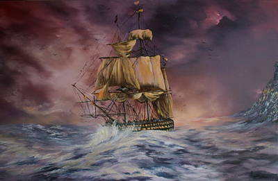 Turbulent Skies Painting - H.m.s Victory by Jean Walker