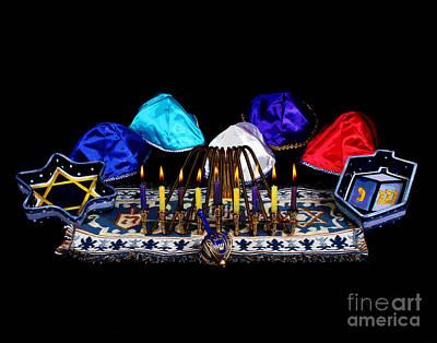 Hanukah Photograph - Hnaukah Candles And Dreidle by Larry Oskin