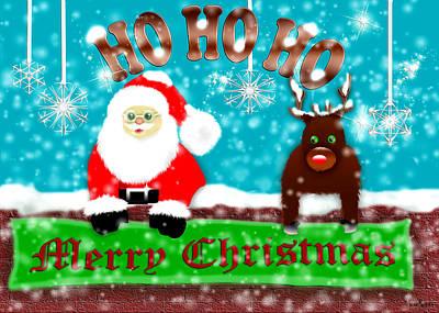 Ho Ho Ho Merry Christmas Print by Mechala  Matthews