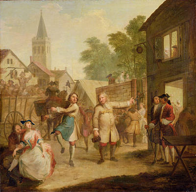 Hob Continues Dancing In Spite Of His Father, C.1726 Oil On Canvas Print by John Laguerre