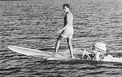Hobart Photograph - Hobie Alter Surfboard Motor by Underwood Archives