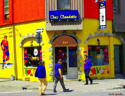 Hamburger Painting - Hockey Art At Restaurant Chez  Claudette Plateau Montreal Sunny Street Scene Carole Spandau  by Carole Spandau