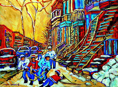 Hockey Art Montreal Winter Scene Winding Staircases Kids Playing Street Hockey Painting  Print by Carole Spandau