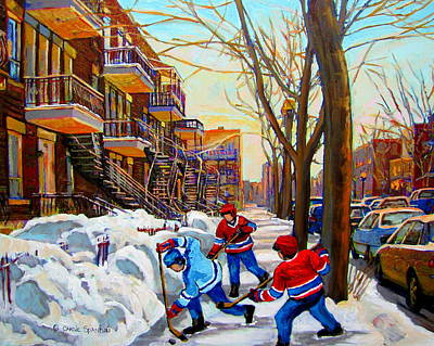 Of Verdun Hockey Scenes Montreal Street Scene Artist Carole Painting - Hockey Art - Paintings Of Verdun- Montreal Street Scenes In Winter by Carole Spandau