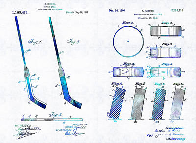 Sears Tower Drawing - Hockey Art - Stick And Puck - Sharon Cummings by Sharon Cummings
