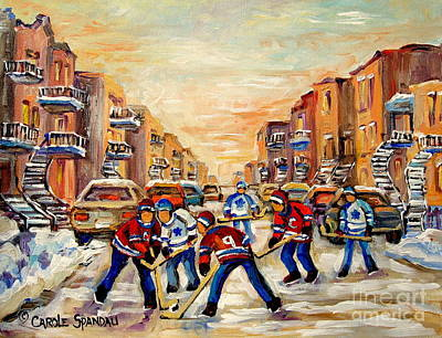 Kids Playing Hockey Painting - Hockey Daze by Carole Spandau