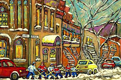 Winter Painting - Hockey Game Near Bagg Street Synagogue Montreal Winter Street Scene Painting By Carole Spandau by Carole Spandau