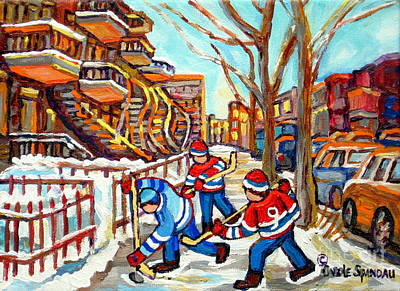 Montreal Streetlife Painting - Hockey Game Near Montreal Staircases Winter Scenes Paintings Carole Spandau by Carole Spandau