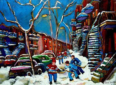 Montreal Winter Scenes Painting - Hockey Game On De Bullion Montreal City Scene by Carole Spandau