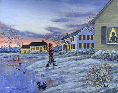 Kids Painting - Hockey Girl by Richard De Wolfe