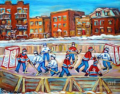 Montreal Winter Scenes Painting - Hockey In The City Ndg Outdoor Hockey Rink Neighborhood Kids Bring Montreal Memories To Life by Carole Spandau