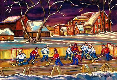 Hockey Practice In The Village Canadian Winter Night Scene Quebec Landscape Carole Spandau Original by Carole Spandau