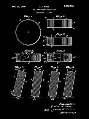Hockey Puck Patent 1940 - Black Print by Stephen Younts
