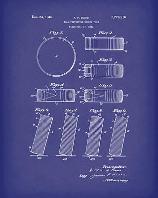 Hockey Drawing - Hockey Puck Patent Art Blue by Prior Art Design