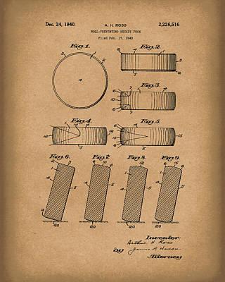 Hockey Drawing - Hockey Puck Patent Art Brown by Prior Art Design