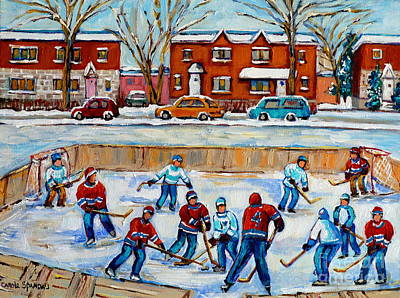 Kids Playing Hockey Painting - Hockey Rink At Van Horne Montreal by Carole Spandau