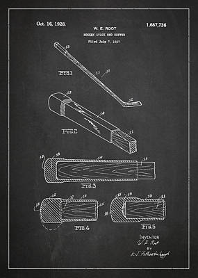Hockey Games Drawing - Hockey Stick And Buffer Patent Drawing From 1927 by Aged Pixel