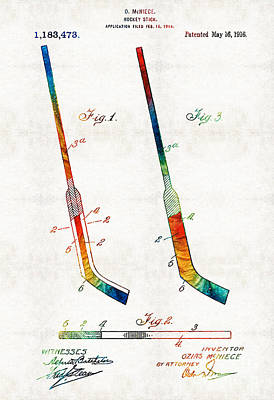 Hockey Games Painting - Hockey Stick Art Patent - Sharon Cummings by Sharon Cummings