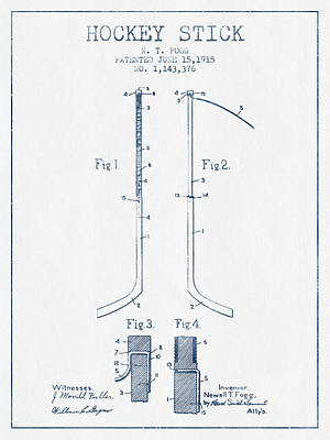 Hockey Stick Patent Drawing From 1915 - Blue Ink Print by Aged Pixel