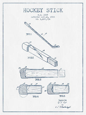 Hockey Stick Patent Drawing From 1928 - Blue Ink Print by Aged Pixel