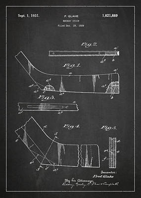 Hockey Games Drawing - Hockey Stick Patent Drawing From 1929 by Aged Pixel