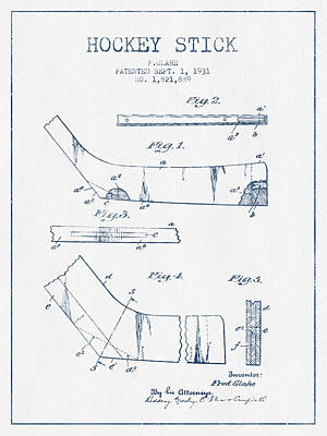 Hockey Stick Patent Drawing From 1931 - Blue Ink Print by Aged Pixel