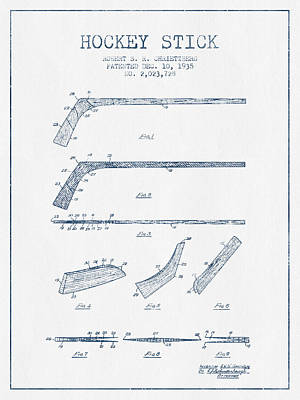 Hockey Stick Patent Drawing From 1935 - Blue Ink Print by Aged Pixel