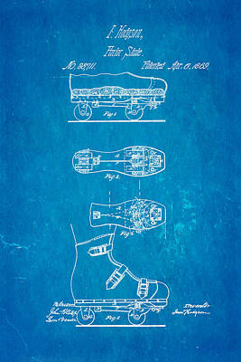 Hodgson Roller Skate Patent Art 1869 Blueprint Print by Ian Monk