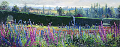 Delphinium Painting - Hoeing Against The Hedge by Timothy  Easton