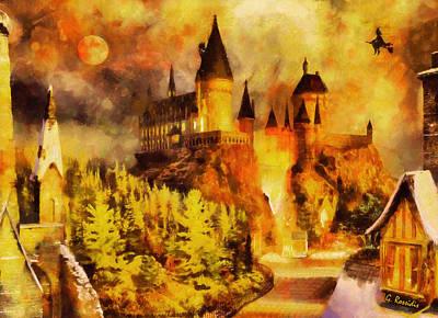 Moon Painting - Hogwarts Castle by George Rossidis