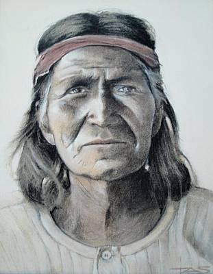 Native American Spirit Portrait Drawing - Hohoni by Terri Ana Stokes