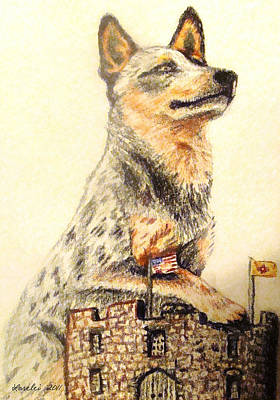 Blue Healer Painting - Holding Down The Fort by Lorelei Alvarez