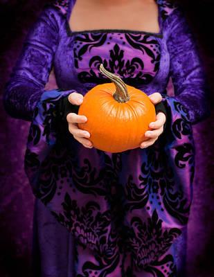 Jack-o-lantern Photograph - Holding Pumpkin by Amanda Elwell