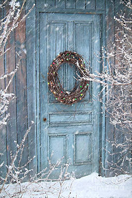 Christmas Cards Digital Art - Barn Door And Holiday Wreath/digital Painting by Sandra Cunningham