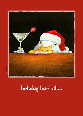 Christmas Greeting Painting - Holiday Bar Bill... by Will Bullas