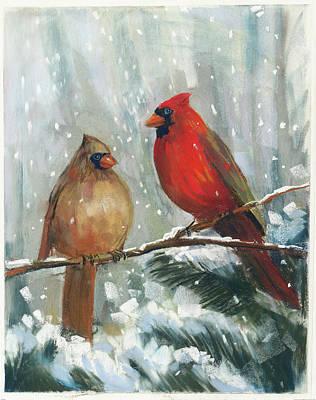 Black And White Birds Painting - Holiday Birds by Carol Rowan